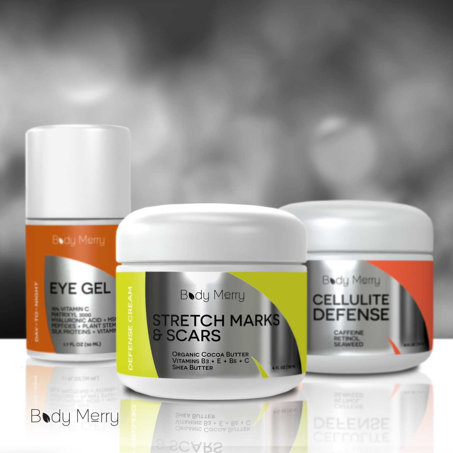 Body Merry Eye Gel, Stretch Marks & Scars body butter, and Cellulite Defense cream